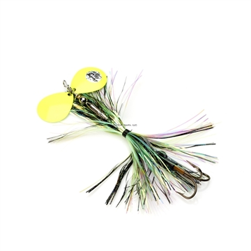 Picture of Musky Mayhem Baby Girl Musky Spinner, 1.8 Oz, 4/0 Hook, 2 #6 Blades, Black Chartreuse/Chartreuse