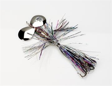 Picture of Musky Mayhem Baby Girl Musky Spinner, 1.8 Oz, 4/0 Hook, 2 #6 Blades, Rainbow Nickel