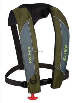 Picture of Onyx A/M-24 Automatic/Manual Inflatable Life Jacket, Green, Size Adult Universal