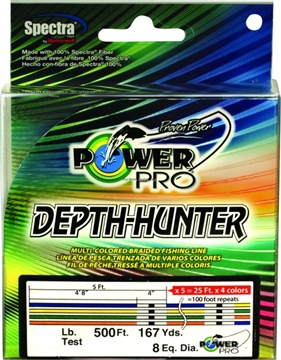 Picture of Power Pro Depth-Hunter Braided Fishing Line Metered 30Lb 500Ft 167 YD Multi-Colored