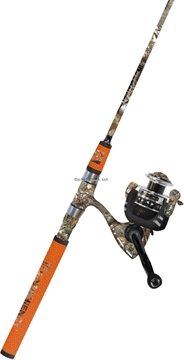 """Picture of Profishiency 2 PC 6'8"""" Spinning Combo, Medium Action Rod, Soft Padded Grips IN Orange Camo, 5.2:1 Gear Ratio, 8+1 Ball Bearings"""