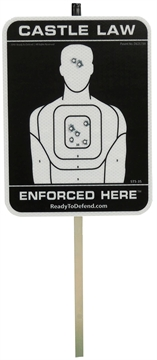 Picture of Ready TO Defend/Cogent Sts3s Reflective Yard Sign Castle Law Enforced Here Reflective Yard Sign Black/White