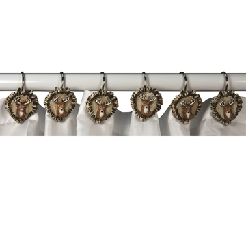 Picture of Rivers Edge 12 Piece Antler And Deer Shower Curtain Hooks