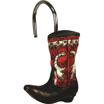 Picture of Rivers Edge 12 Piece Cowboy Boots Shower Curtain Hooks