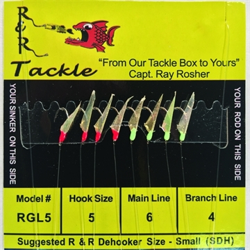 Picture of R&R 4 Hook Gold SZ 5 W/4 Grn Glo Heads & 4 Red Heads