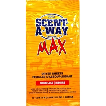 "Picture of Scent-A-Way  Dryer Sheets  Max Oderless 6.5""X9"" 15Pk"
