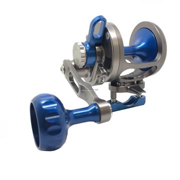 Picture of Seigler SG (Small Game) Smoke/Blue Lever Drag Fishing Reel RH Lever Drag, 7 Brg, 6:1, 275Yd #20 Mono, 450Yd #50 Braid