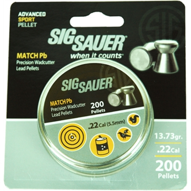 Picture of Sig Sauer Pellet .22 Match 13.73Gr Lead Alloy 200 Per Tin