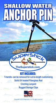 "Picture of Superstick 5/8"" X 7' Shallow Water Anchor Pin System, W/Storage Clips & Cinching Rope Lanyard"