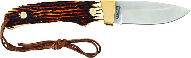 "Picture of Uncle Henry Mini Pro Hunter Full Tang Fixed Blade Knife, 2.76"" Blade, Staglon Handle W/Lanyard, Leather Sheath"