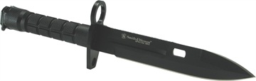 "Picture of S&W Knives Sw1b Spec Ops M9 Commando Bayonet 7.1"" 400 SS Black Plain Blade Nylon"
