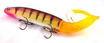 "Picture of Tyrant Jerkbait, 14"", 8 Oz, 2 - 4/0 Wide Gap Trebles, River Walleye W/Replaceable Tail"