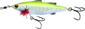 "Picture of Unfair Lures Paul's Dinkum Mullet Topwater Twitch/Glide Bait, 3.54"", 1/2 Oz, 3X Hooks, Pearl Chartreuse, Floating"