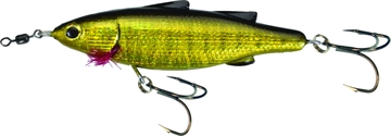 "Picture of Unfair Lures Paul's Dinkum Mullet Topwater Twitch/Glide Bait, 3.54"", 1/2 Oz, 3X Hooks, Pearl Gold, Floating"