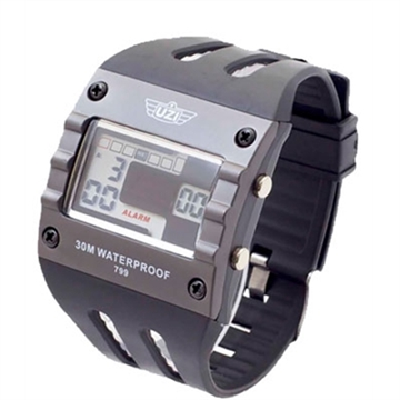Picture of Uzi Digital Sports Watch Grey With Black Rubber Wrist Strap