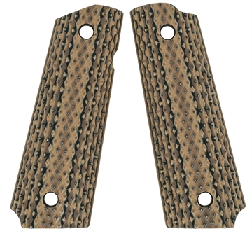 Picture of VZ Grips Dbhbxa 1911 Diamond Back Grip Panels Diamond Texture G10 Hyena Brown