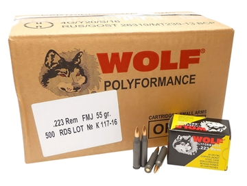 Picture of Wolf 22355Cfmj Polyformance Rifle 223 Remington/5.56 Nato 55 GR Full Metal Jacket 20 Bx/ 25  CS 500 Total (Case)