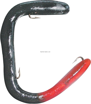 """Picture of Worm Factory Magnum Regular Rigged Worm, 8"""", Black/Red Tail, Floating"""