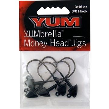 Picture of Yum  Brella Money Head Jig Head, 3/16 Oz, Black,5/Pack