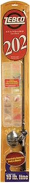 """Picture of Zebco 202 Flatboard Spincast Packaged Combo, With Line, 70/10, 5' 6"""", L"""