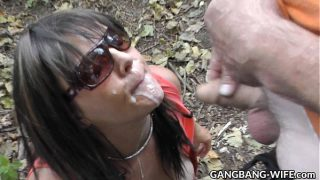 Wife swallows pee and cum from many guys at the…