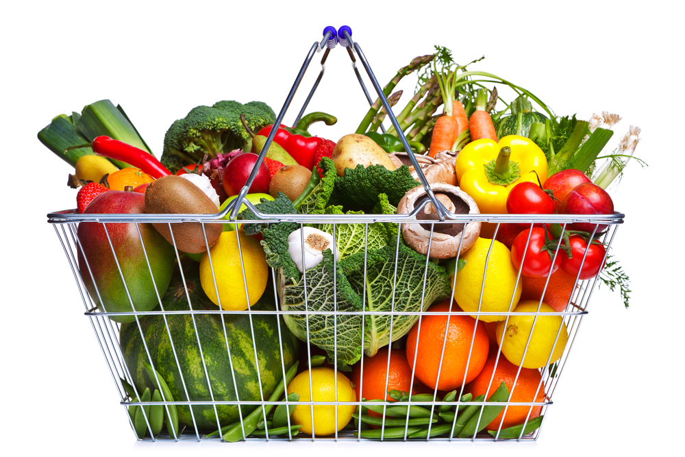 basket fruits and veggies