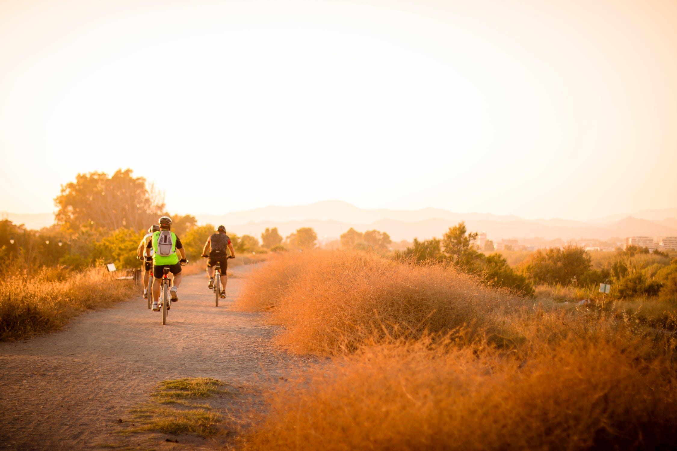 exercise cycle bike movement outside sunny