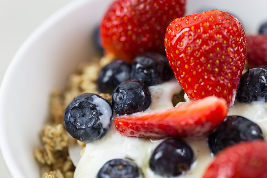 granola fruit kefir yogurt