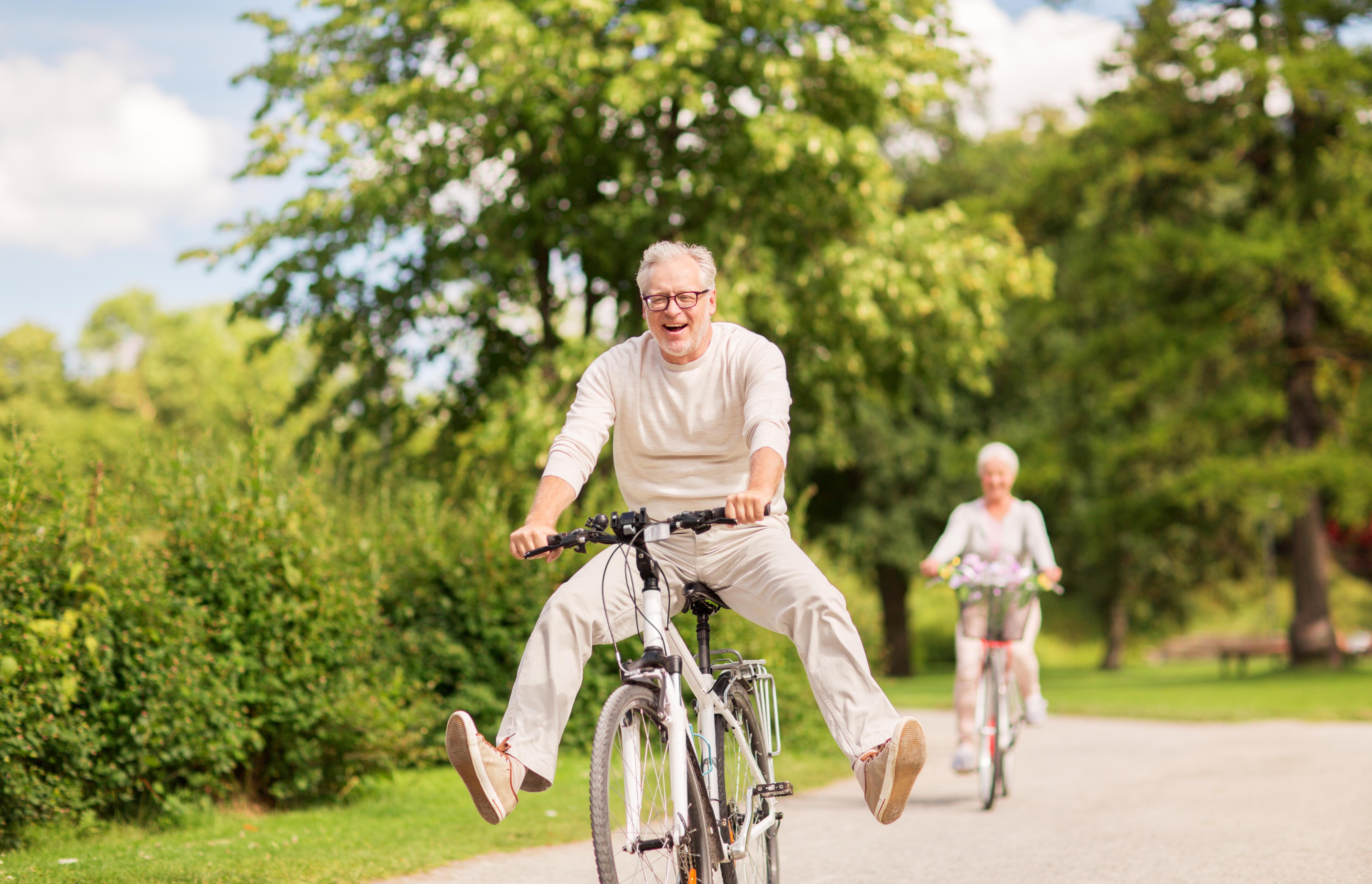 dementia elderly man woman cycle age