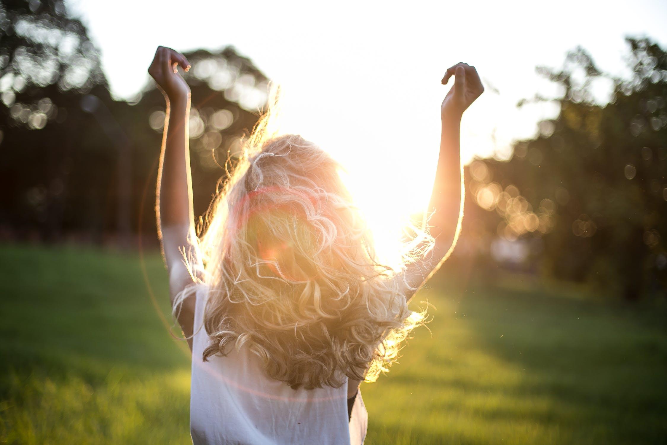woman sunshine happy joy