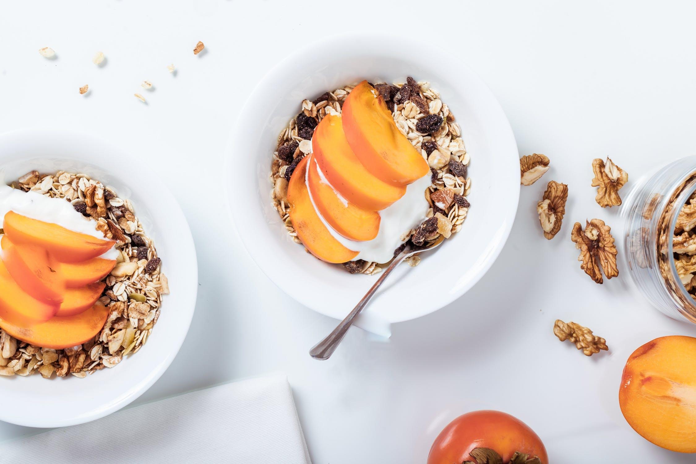 walnuts peaches kefir granola breakfast