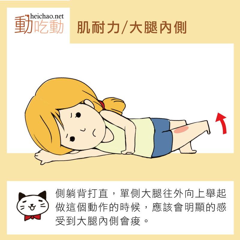 側躺背打直,單側大腿往外向上舉起,做這個動作的時候,很明顯的感受到大腿內側會痠