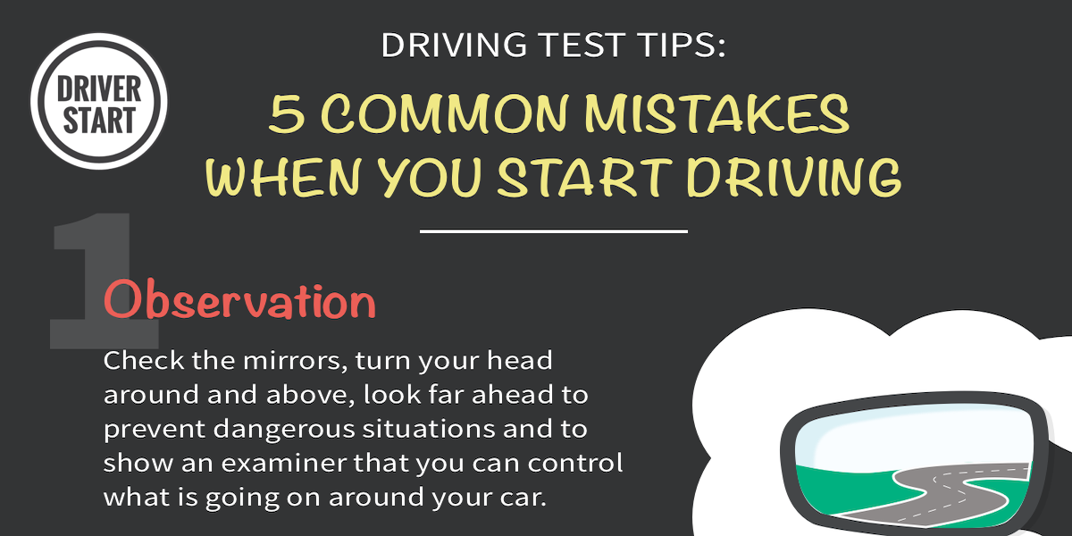 Driving test tips: 5 common mistakes when you start driving - driver-start.com