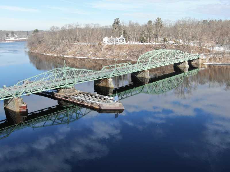 Drone Photo Rocks Village Bridge Ma
