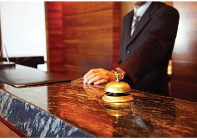 A bell at the front desk for Tropicana Atlantic City's Concierge Services