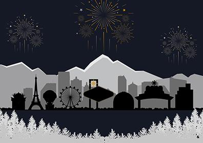Animated skylines of Caesars Entertainment properties for New Year New Empire Sale