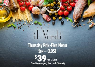 il Verdi Thursday Prix Fixe Menu