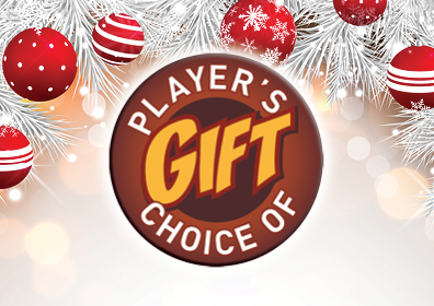 White background with white snow branches and red Christmas ornament balls in different sizes and patterns, Center is a circle that has PLAYERS CHOICE OF GIFT in the middle.