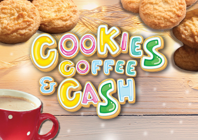Sugar Cookies in the back ground and a red coffee cup in the bottom left corner.  Centered and to the front: COOKIES COFFEE & CASH this is done in a cookie font
