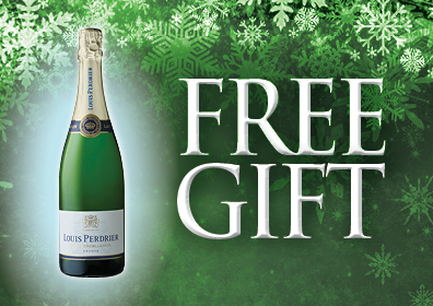 Green background with white snow flakes at the top. Pictured to the left is a bottle of Louis Perdrier Champagne to the right in white ALL CAPS is FREE GIFT
