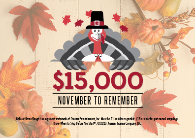 Graphic Design: Fall scene with leaves in background on cream color pallet.  In the center is a turkey with pilgrim's hat on holding in large red lettering $15,000.  Below that is the words within banner which reads November to Remember in caps.  At the bottom centered is the disclaimer.