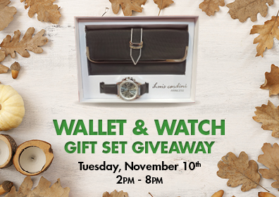 Graphic Design: Light Tan background with pumpkins, winter squash, and nuts on the outside with wallet/watch gift set top center and words wallet & watch gift set giveaway Tuesday, November 10th 2pm - 8pm centered and in tiers underneath