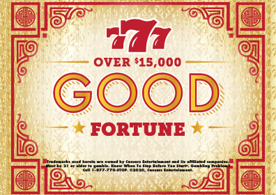 """Graphic Design: Gold background with red oriental trim and red writing """"777 Over $15,000 Good fortune""""  Disclaimer in black"""
