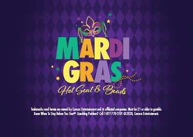 Graphic Design: Purple background w/Fleur de Lis above multicolor Mardi Gras which has beads off to left with Hots Seats & Beads in script with disclaimer arranged in middle one above the other.