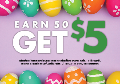 Graphic Design:  Lavender background with colored Easter eggs on top & bottom with the words Earn 50 get $5 in center with disclaimer underneath