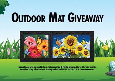 Graphic Design:  Spring day with words centered Outdoor Mat Giveaway above two mats and disclaimer