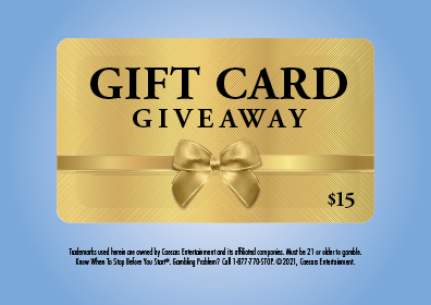 Graphic Design: Blue background with Gold Gift Card in center and disclaimer underneath.  Gift Card states Gift Card Giveaway $15