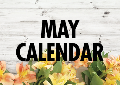 Graphic design:  Words stating May Calendar