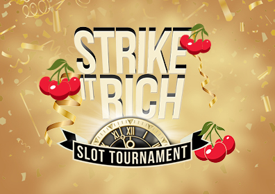 Graphic Design Gold brown background with a lighter burst of light emanating from behind the words Strike it Rich Slot Tournament in center.