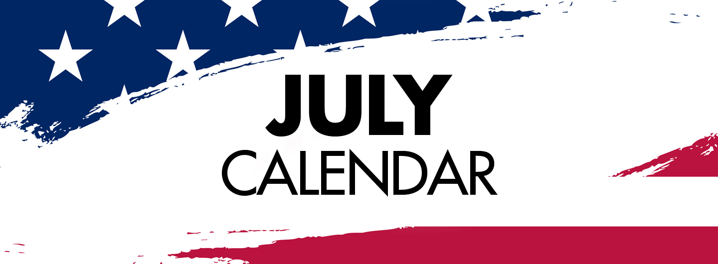 Graphic Image:  American flag with July Calendar written in the middle